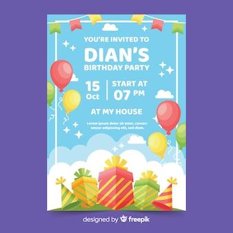 カラフルなフラットデザインの誕生日の招待状のテンプレート