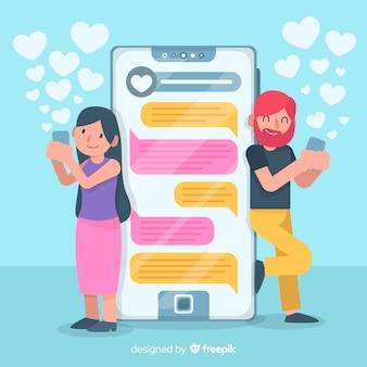 Плоский дизайн красочных персонажей в чате на сайте знакомств