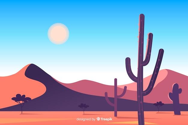 砂漠の風景の中の砂丘とサボテン