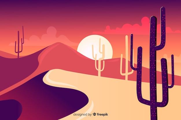 サボテンと砂丘のシルエット