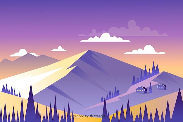 Красивый пейзаж горы и домики