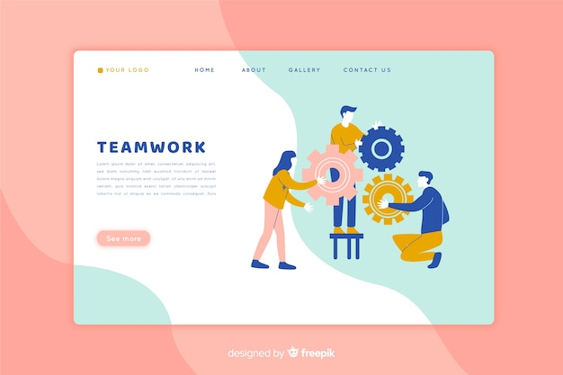 イラスト入りのキャラクターを含むチームワークのランディングページ