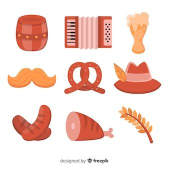 Плоский дизайн коллекции элементов октоберфест