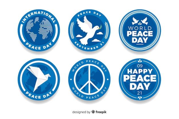 フラットなデザインの平和の日バッジコレクション
