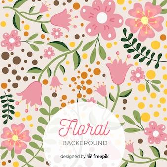 Переполненный фон с цветами и листьями