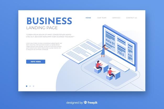 Изометрическая бизнес-целевая страница