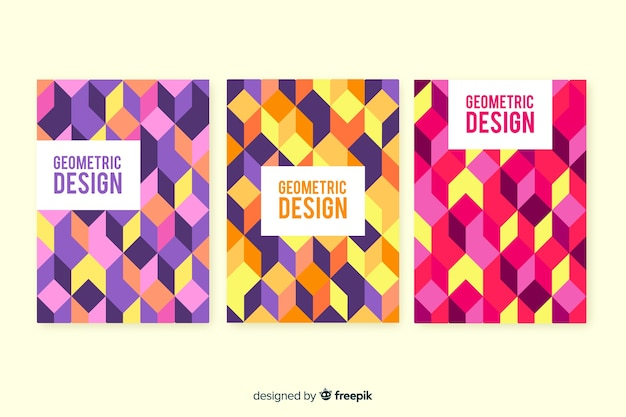 幾何学的デザインカバーのセット
