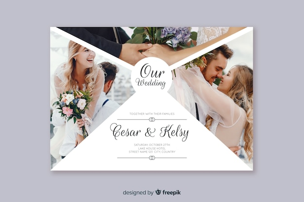 写真付きの素敵な結婚式の招待状