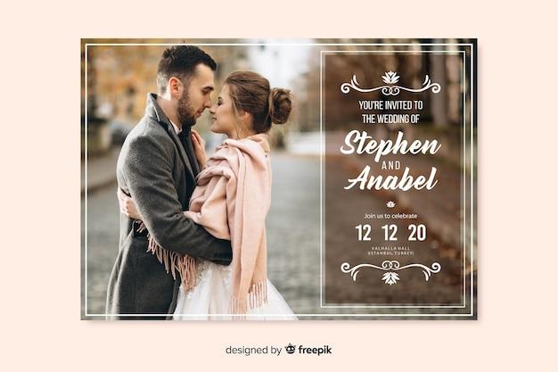 写真の美しい結婚式の招待状