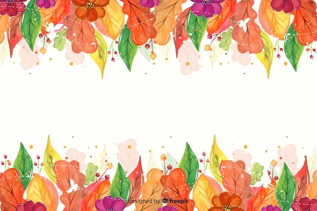 水彩画紅葉背景