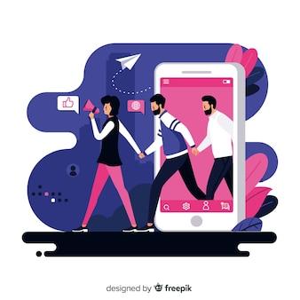 手を繋いでいるフラットなデザインのキャラクターは、友人の概念を参照してください