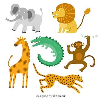 Симпатичная коллекция диких животных на плоском дизайне
