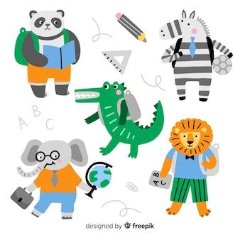学校に戻る動物のコレクション