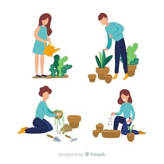 植物の世話をする人