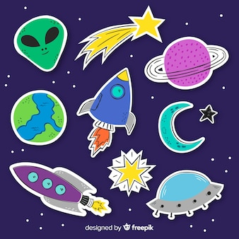 Коллекция космических стикеров в плоском дизайне