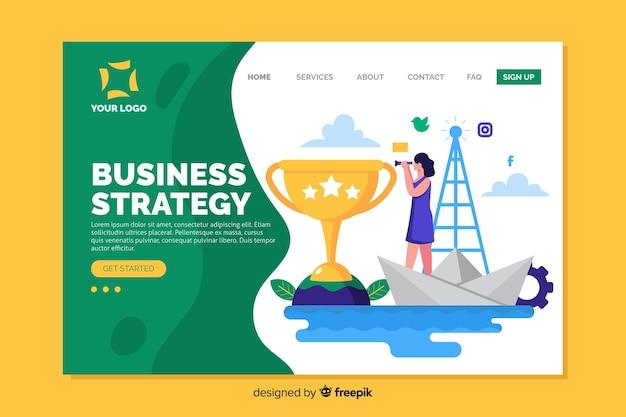 Целевая страница бизнес-стратегии с плоской композицией дизайна