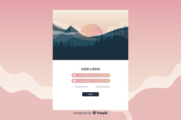フラットなデザインランドスケープの長いランディングページ