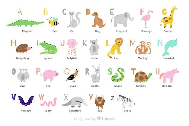 フラットなデザインの動物のアルファベット