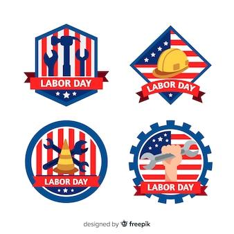 アメリカバッジコレクションでフラットなデザイン労働者の日