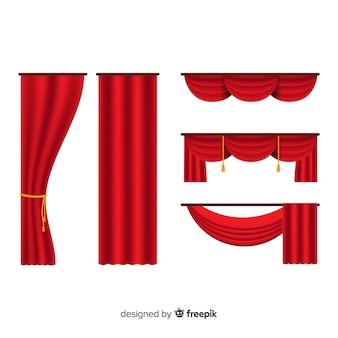 平らな赤いカーテンのセット