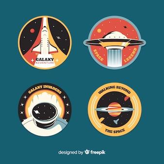 Коллекция на космической наклейке в плоском дизайне