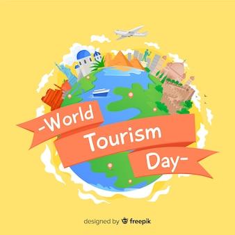 Плоский дизайн фона день туризма