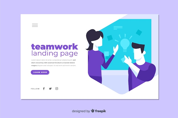 同僚が議論するチームワークランディングページ
