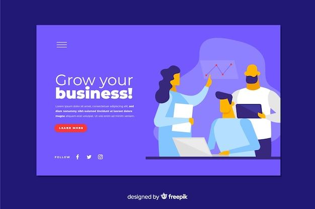 文字を含むフラットなデザインビジネス戦略のランディングページ
