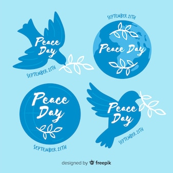 手描きの平和の日バッジコレクション