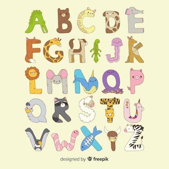 動物のアルファベットのフラットなデザイン