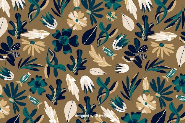 花の背景のバティックパターン