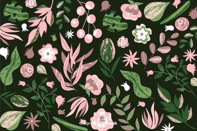 手描きの花の背景のバティックデザイン