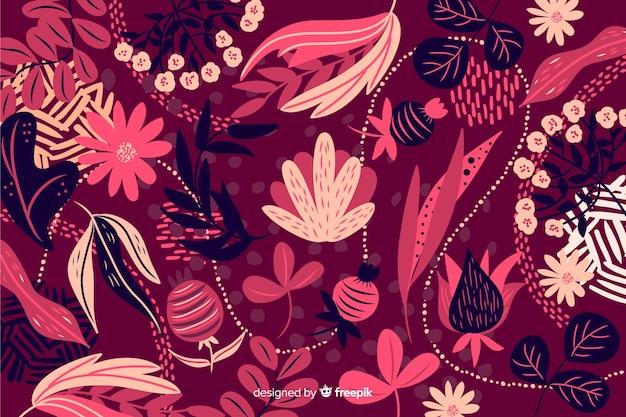 手描きの抽象的な花の背景