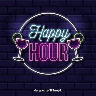 Счастливый час неоновая вывеска с коктейлями
