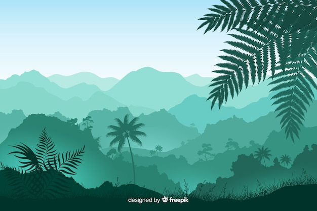 Панорамный вид на листву и тропические лесные деревья