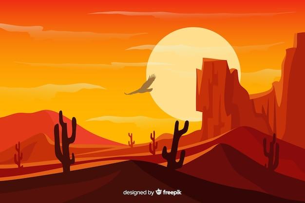 山と砂漠の砂丘の風景