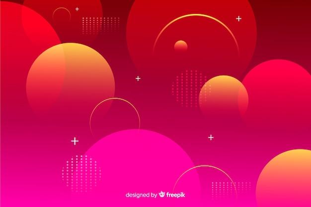 赤いグラデーションの幾何学的な球体の背景