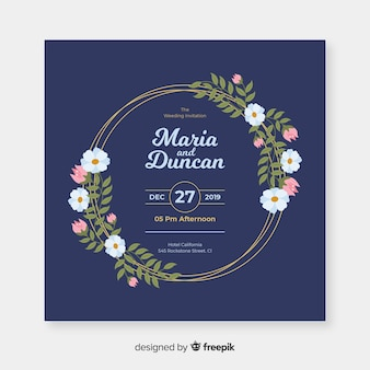 フラットなデザインの青い花のフレームの結婚式の招待状