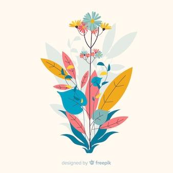 Композиция с цветущими цветами и листьями