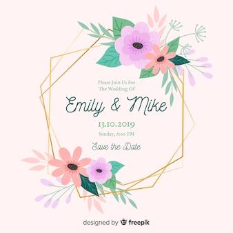 フラットなデザインと花のフレームの結婚式の招待状