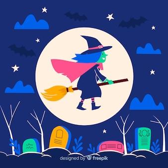 魔女とフラットハロウィン背景
