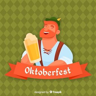 Плоский октоберфест мультфильм человек с кружкой пива