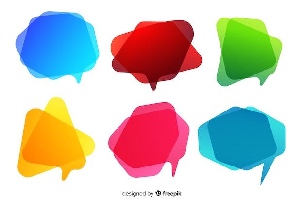 Коллекция пустых красочных градиента речи пузырь