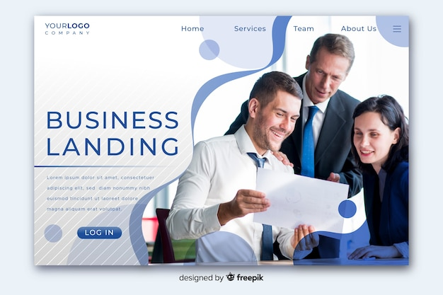 半分のコピースペースと半分の写真を含むビジネスランディングページ