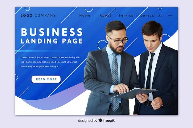 写真付きのエレガントなビジネスランディングページ