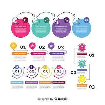 Плоский дизайн инфографики элемент коллекции