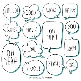 Набор речевых пузырей с разными выражениями
