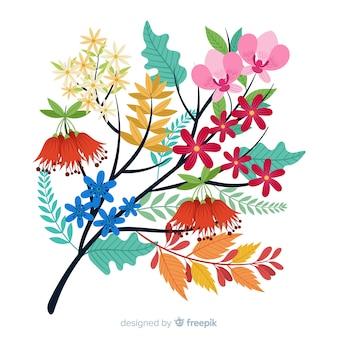 Плоские красочные цветочные ветви на белом фоне