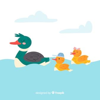 水の中の平らな母鴨