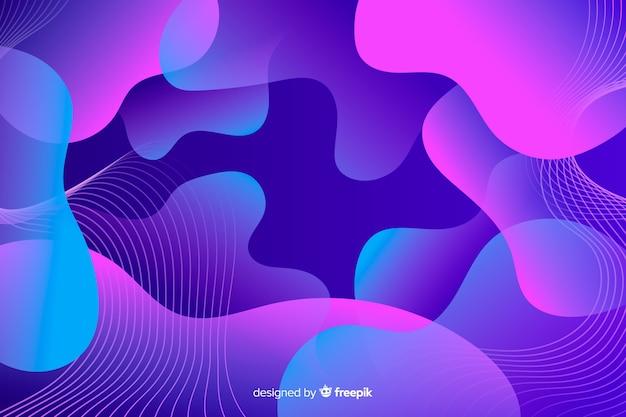 バイオレットグラデーション液体形状の背景の抽象的な構成